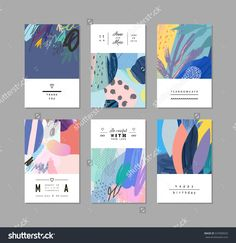 Collection of creative universal artistic cards. Collection of creative universal artistic cards. Trendy Graphic Design for ban Id Card Design, Banner Design, Business Card Design, Layout Design, Web Design, Design Cars, Design Trends, Design Ideas, Graphic Design Brochure