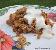Raparperipaistos Dessert Recipes, Desserts, Grains, Food And Drink, Rice, Meat, Chicken, Tailgate Desserts, Deserts