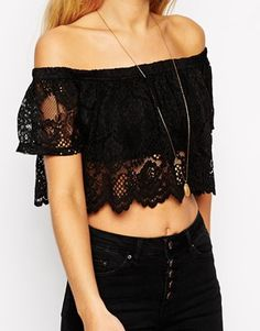 Enlarge ASOS Cropped Top With Off Shoulder In Lace With Scallop Edge