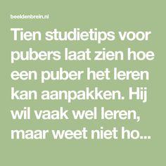 Tien studietips voor pubers laat zien hoe een puber het leren kan aanpakken. Hij wil vaak wel leren, maar weet niet hoe. Wat is belangrijk.