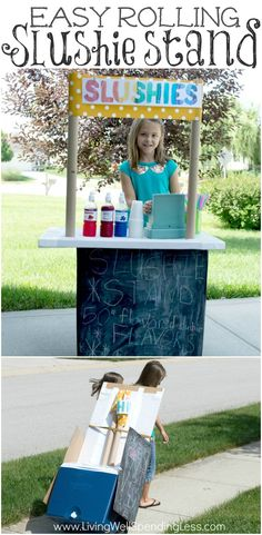Are your kids eager to earn some cash this summer? This easy rolling slushie stand is a fun way for your budding entrepreneurs to showcase their creativity and learn about money! All you need are a few basic supplies you might already have hand and their new business will be up and running in no time!