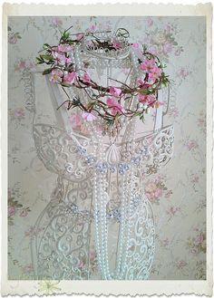 A shabby chic decorated iron dressform by IngeborgvanZuiden, via Flickr