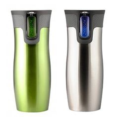 Contigo AUTOSEAL Travel Mug - Stainless Steel Vacuum Insulated Tumbler - 2 Pack (Green/Stainless Ste