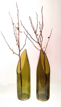 Wine Bottle Vase PAIR SLANT  10 1/2 inches diamond by bottlevase