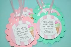 Ice Cream Birthday Favor Tags Sweet Shoppe by sosweetpartyshop