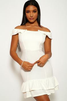 White Ruffled Detail Bodycon Casual Party Dress Casual Party Dresses, Bodycon Dress Parties, Sexy Dresses, Super Cute Dresses, Simple Dresses, Peacock Costume, Cocktail Bridesmaid Dresses, Clubwear For Women, Different Dresses