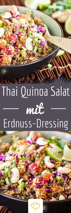 Ein bisschen nussig, ein bisschen scharf, ein bisschen süß. Ein bisschen Erdnussbutter, ein bisschen Ingwer, ein bisschen Honig – dieses Dressing ist ein Besonderes. Und passt ganz wunderbar zu Rotkohl, Karotten, Zwiebeln und Paprika. In ihrer Mitte – Quinoa. Perfekt!