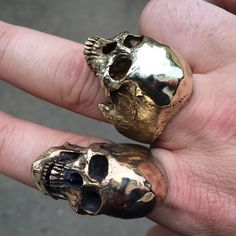 Brass Large Open Jaw • Skull Ring •