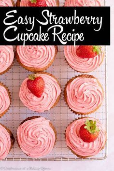 Deliciously soft and moist strawberry cupcakes are made with roasted and reduced strawberry puree for a natural strawberry flavor. Topped with a gorgeous strawberry cream cheese frosting these strawberry cupcakes are the perfect summer treat! Strawberry Swirl Cheesecake, Strawberry Cream Cheese Frosting, Strawberry Cupcakes, Strawberry Desserts, Strawberry Puree, Mocha Cupcakes, Velvet Cupcakes, Vanilla Cupcakes, Cupcake Recipes