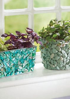 Learn how to create cool DIY covered garden containers for your indoor garden decor.