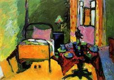 Painter Wassily Kandinsky. Bedroom in Aintmillerstrasse. 1909