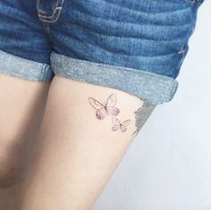 Butterflies on thigh by Flower