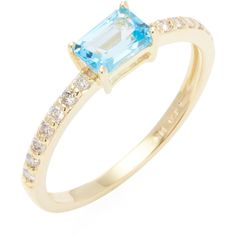 Danni Women's 14K Yellow Gold, Blue Topaz & 0.20 Total Ct. Diamond... ($450) ❤ liked on Polyvore featuring jewelry, rings, blue, yellow gold rings, 14 karat gold ring, 14k gold ring, blue topaz gold ring and 14k ring