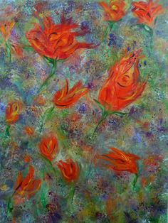 Abstract Art, floral painting, fine art, gilcee print, spring tulips, red flowers, colorful art, wall art, abstract flowers, modern painting by ArtbyKatsy on Etsy https://www.etsy.com/listing/226477157/abstract-art-floral-painting-fine-art