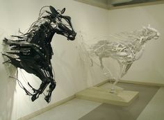 """Sayaka Kajita Ganz created these wild horse sculptures from trash-picked objects like plastic utensils, toys, and metals. She says, """"By building these sculptures I try to understand the human relationships that surround me. It is a way for me to contemplate and remind myself that even if there is conflict right now, there is a way for all the pieces to fit together."""""""