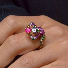 Hop Over Hump Day With This Jeweled Jumper Gorgeously detailed wendy yue ring available at cellini jewelers nyc .18 karat rose gold, rubies, tanzanites.