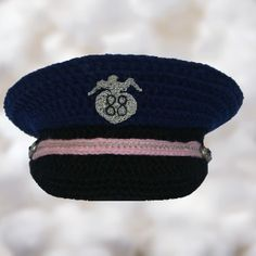 Crochet baby police hat for photo prop on etsy.com/shop/BoutiqueofVirtuosity