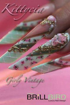 Brillbird Vintage edge nails Tina's Nails, Edge Nails, Bling Nails, Stiletto Nails, Funky Nail Art, Crazy Nail Art, Long Nail Art, Exotic Nails, Gel Acrylic Nails