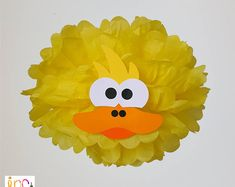 Duck Pompom Baby Shower Decoration/Farm Party supplies/Rubber Ducky Birthday Party/Old McDonald Party/Tissue Paper pom pom Third Birthday Girl, Farm Birthday, 2nd Birthday Parties, Birthday Party Decorations, Baby Shower Decorations, Barnyard Party, Farm Party, Pom Pom Baby, Baby Shower Duck