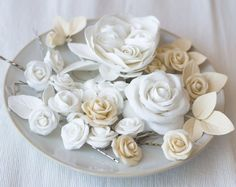Rose hair accessories ivory rose hair clips by GentleDecisions