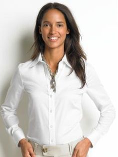 A white fitted button down shirt.