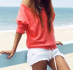 beach casual - love the coral top, and white shorts are always a hit!