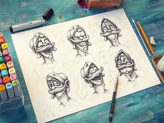 Amazing Character Design & Sketches by Mike - Character Design Sketches, Game Character Design, Character Concept, Logo Design, Graphic Design, Sketch Inspiration, Illustration Art, Illustrations, Nerd