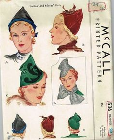 McCall 536 | 1930s Ladies' and Misses' Hats