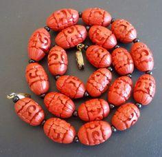 Signed 925 Sterling Silver Vintage Necklace Pendant Carved Cinnabar Flower 1311