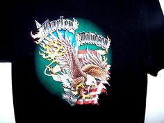 Men's Harley-Davidson Black Graphic T-Shirt Medium Eagle Flames Flag  #HarleyDavidson #GraphicTee
