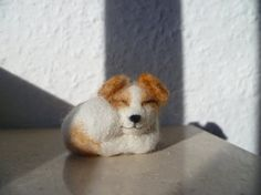 Sleeping Jack Russell Terrier dog - made to order animal collectible soft sculpture