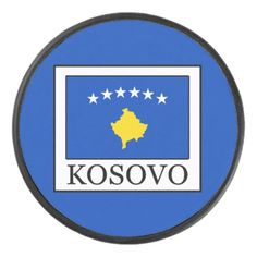 Shop Kosovo Hockey Puck created by KellyMagovern. Hockey Gear, Hockey Puck, Kosovo Flag, Political Events, National Flag, Activity Games, Teamwork, Kids Learning, A Team