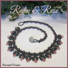 """Raku & Rose"" 18"" Beaded Ncklace  Made by Ravengirl Designs https://www.Facebook.com/RavengirlDesigns"