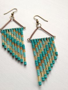Teal, Turquoise and, Tan 70's Inspired Beaded Earrings. $25.00, via Etsy.