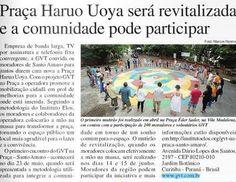 Divulgação sobre a iniciativa GVT na Praça Santo Amaro, em São Paulo, no jornal Gazeta de Santo Amaro.