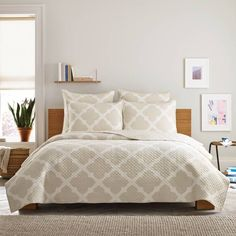 product image for Real Simple® Bennett Quilt in Taupe/Ivory