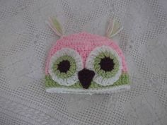 Hand crochet cute pale pink and lime owl hat 0-3m photo prop