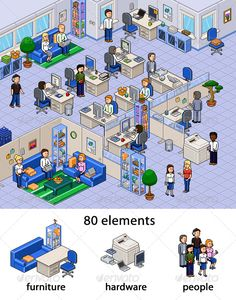 Pixel Art Office Set - PSD Template • Only available here ➝ http://graphicriver.net/item/pixel-art-office-set/144635?ref=pxcr