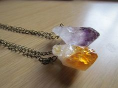 RAW Crystal Necklace  Large CITRINE Or by TheScarlettGypsy on Etsy, $18.00