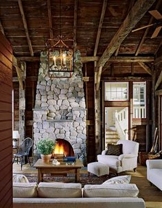 Cabin and white couch