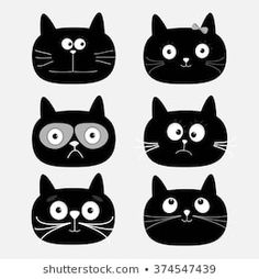 Illustration of Cute black cat head set. Vector illustration vector art, clipart and stock vectors. Design Plat, Cat Design, Cat Vector, Vector Art, Funny Cartoon Characters, Cute Cat Illustration, Cute Black Cats, Cat Posters, Cat Silhouette