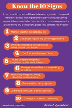 "Know The Signs Of Alzheimer's & Other Dementias! There are differences between expected age-related issues and the early signs of dementia. As with all health-related issues, early identification & intervention are important when dealing with Alzheimer's and other dementias...offering the best opportunity for ""dealing"" with the many changes likely to occur. ~ Lori @ https://www.facebook.com/childrenscommunication"