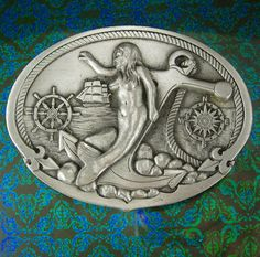 Vintage Nude Mermaid BUCKLE Sailor Protection by NeatstuffAntiques