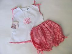 Personalized baby girl bloomer blouse set by monogrammedclothing monogram baby girl bloomer blouse set clearance monogrammed baby bloomer set pink gingham baby outfit free personalization 3m6m negle Images