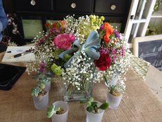 Succulents, baby's breath & flowers make a pretty wedding centerpiece by la petite fleur, Glendora, CA