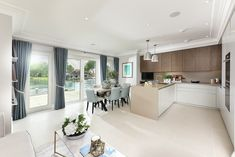 Open plan kitchen with a waterfront view – this may be our personal favourite at Taplow Riverside