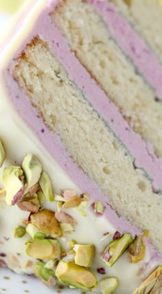 Rhubarb Ginger Layer Cake — Style Sweet Blueberry Pistachio Layer Cake ~ A homemade white cake layered with a fresh blueberry frosting and covered with white chocolate ganache and pistachios. Just Desserts, Delicious Desserts, Yummy Food, Sweet Recipes, Cake Recipes, Dessert Recipes, Blueberry Frosting, Blueberry Cake, Homemade White Cakes