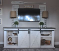 Barn door console full size of sliding table built in entertainment center with media ana white Barn Door Tables, Diy Barn Door, Sliding Barn Door Hardware, Door Hinges, Diy Door, Sliding Doors, Window Hardware, Barn Door Cabinet, Barn Door Console