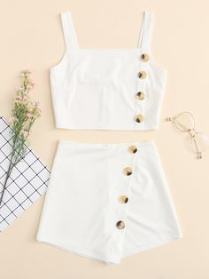Shop Button Detail Solid Cami Top With Shorts online. SHEIN offers Button Detail Solid Cami Top With Shorts & more to fit your fashionable needs. Cute Girl Outfits, Cute Summer Outfits, Cute Casual Outfits, Stylish Outfits, Summer Shorts, Girls Fashion Clothes, Teen Fashion Outfits, Cute Fashion, Girl Fashion