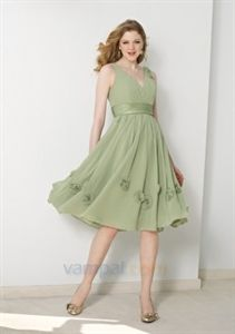 Simple V-Neck Chiffon Tea Length Bridesmaid Dresses With Floral Accent $98.00